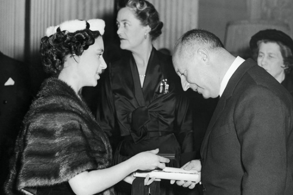 Christian Dior greets Princess Margaret at the show