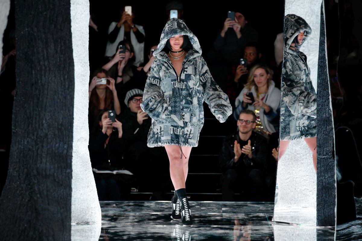 NEW YORK, NY - FEBRUARY 12:  Rihanna walks the runway at the FENTY PUMA by Rihanna AW16 Collection during Fall 2016 New York Fashion Week at 23 Wall Street on February 12, 2016 in New York City.  (Photo by JP Yim/Getty Images for FENTY PUMA)